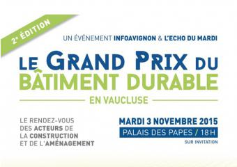 Extract of the poster Grand Prix of sustainable building on 2015 in Vaucluse